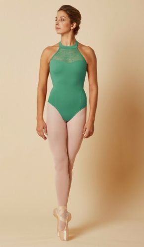 Mirella by Bloch Tween Dance Lace Bodice Halter Neck Leotard M8024 Amazon Green